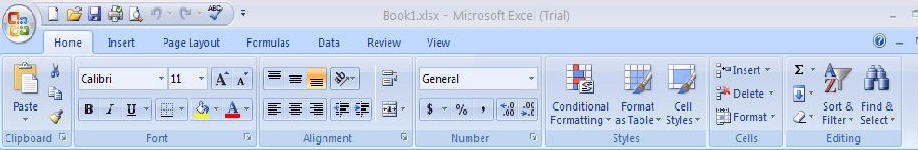 Excel 2007 Environment (Office Button, Ribbon, and Quick Access Toolbar)